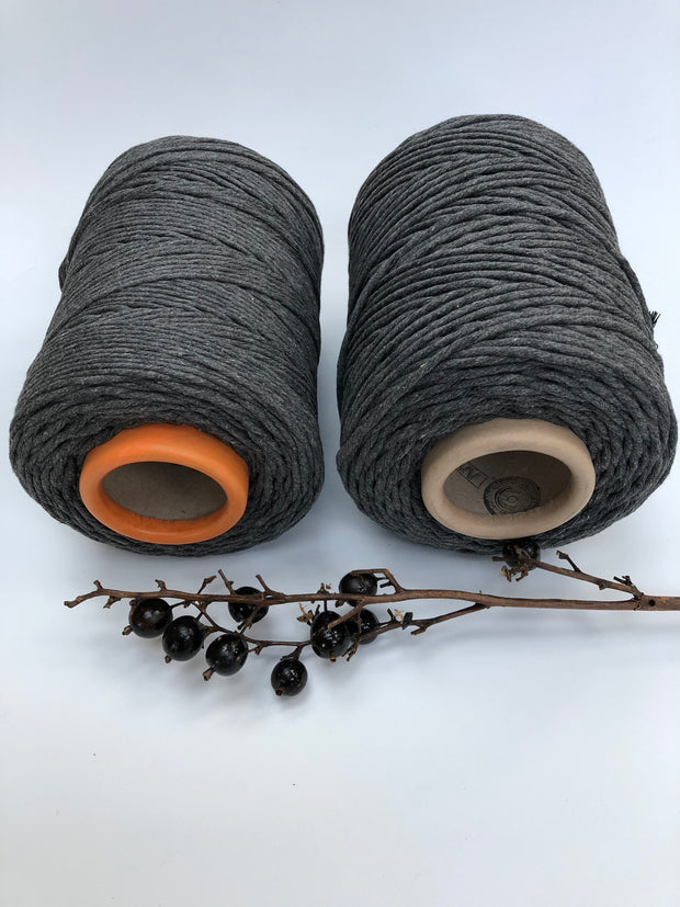 Dark Grey - 3 and 5 mm supersoft single twisted cotton stringrope
