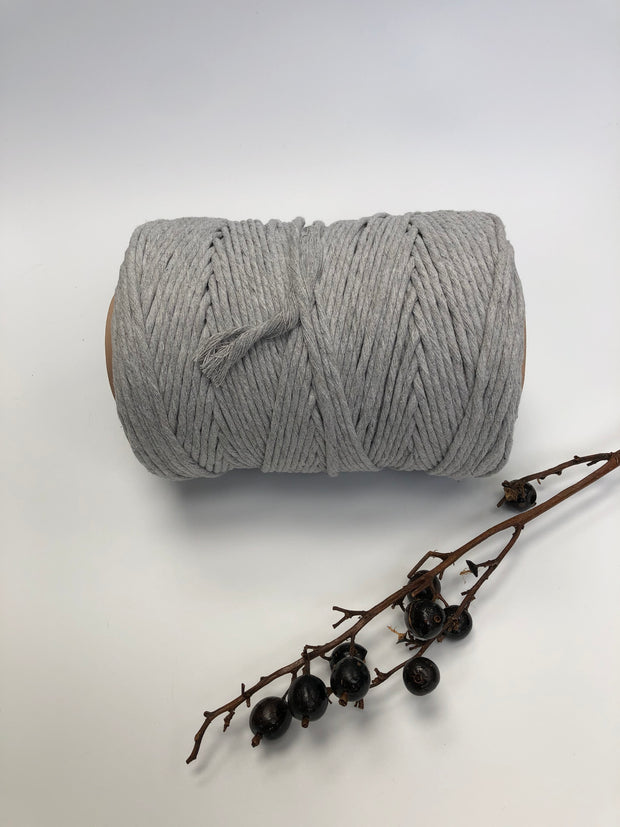Grey - 3 and 5 mm supersoft single twisted cotton stringrope