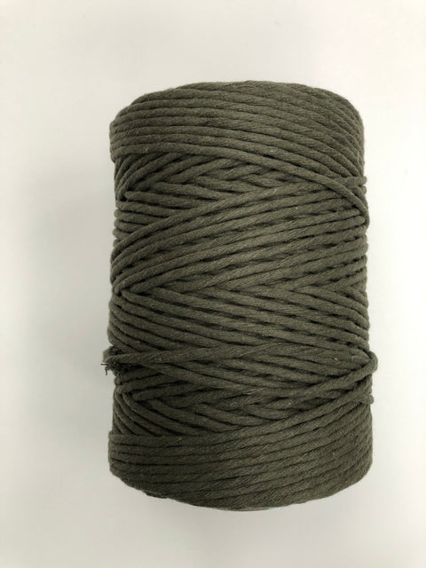 Army Green - 3 and 5 mm supersoft single twisted cotton stringrope