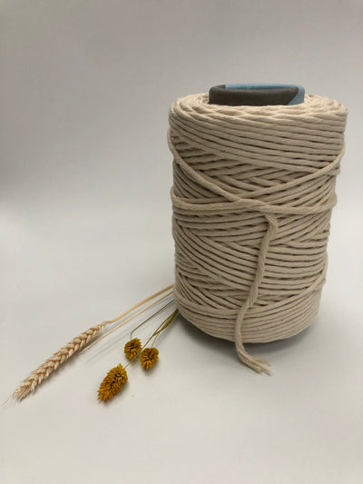 Off White (natural)  - 3 and 5 mm supersoft single twisted cotton stringrope