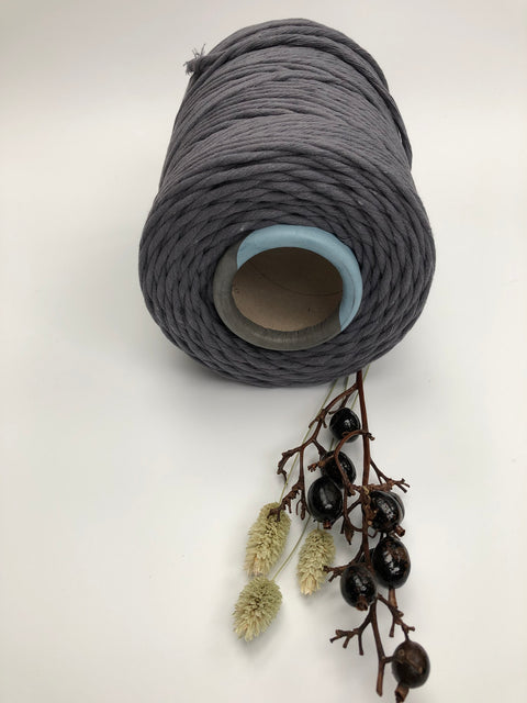 Stone Grey - 5 mm supersoft single twisted cotton stringrope