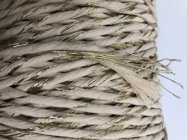 Metallic Stringrope GOLD with Off White - 5mm, 180m