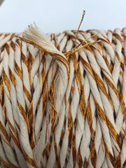 Metallic Stringrope COPPER with Off White - 5mm, 180m
