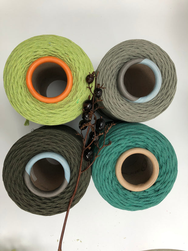 Spring Green - 3 and 5 mm supersoft single twisted cotton stringrope