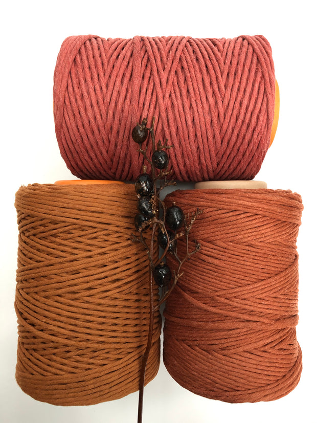 Terracotta - 3 and 5 mm supersoft single twisted cotton stringrope