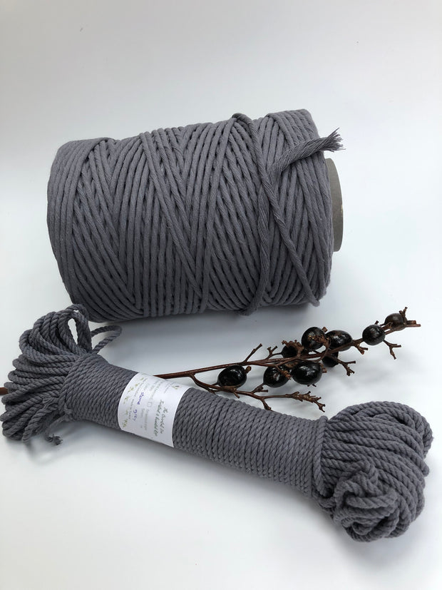 Stone Grey - 4mm, 3-ply twisted rope
