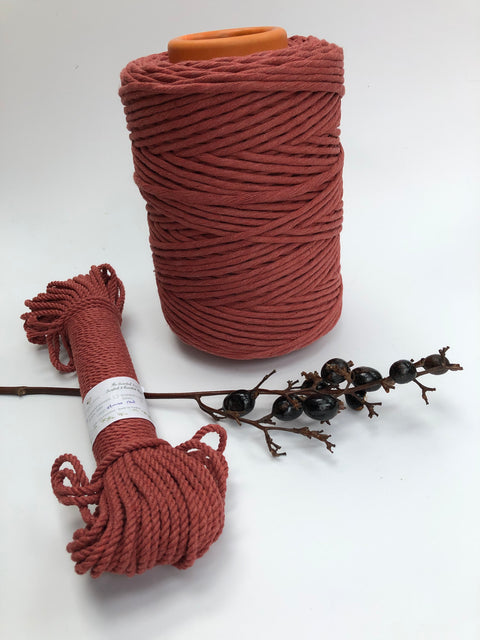 Stone Red- 4 mm 3-ply twisted rope