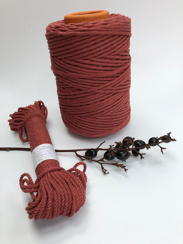 Stone Red - 5 mm supersoft single twisted cotton stringrope