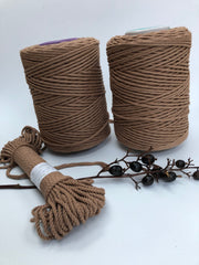 Walnut Brown - 3 and 5 mm supersoft single twisted cotton stringrope