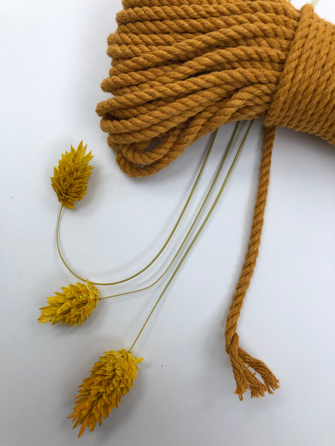 Mustard - 4mm, 3-ply twisted rope