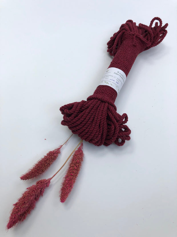Wine Red - 4 mm 3-ply twisted rope