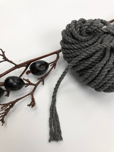 Dark Grey - 4mm, 3-ply twisted rope