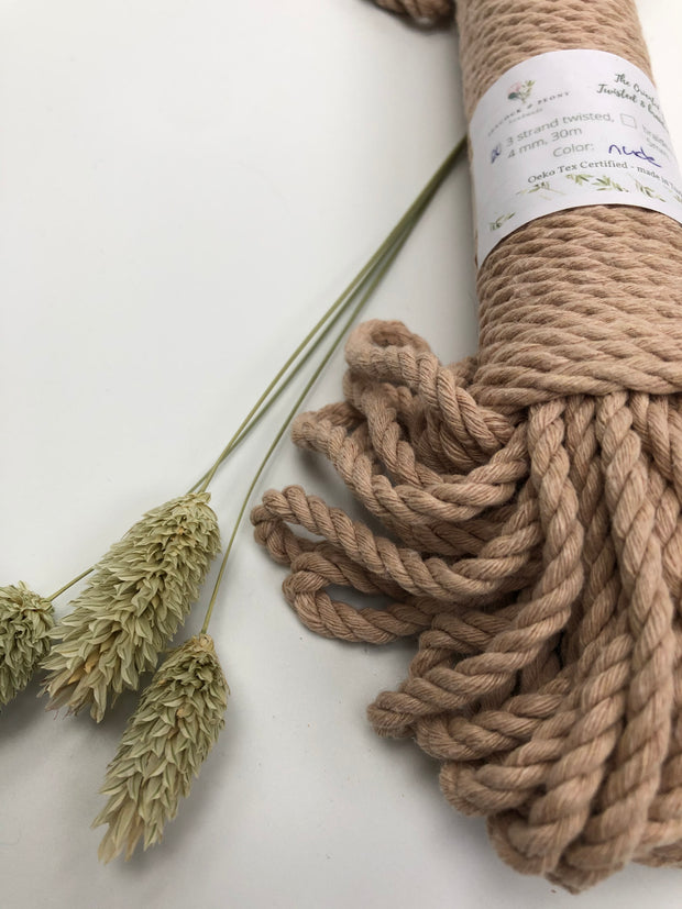 Nude - 4mm, 3-ply twisted rope