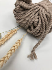 Beige - 4mm, 3-ply twisted rope