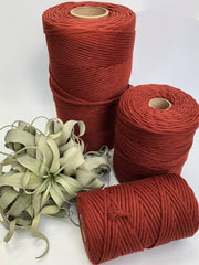 Red amber, 5 mm supersoft single twisted cotton stringrope - recycled cotton