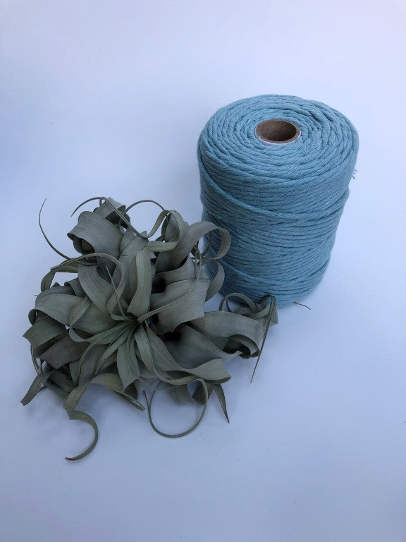 Light blue, 5 mm supersoft single twisted cotton stringrope - recycled cotton