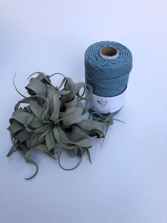 Light blue, 2.5mm, 3-ply twisted rope - recycled cotton