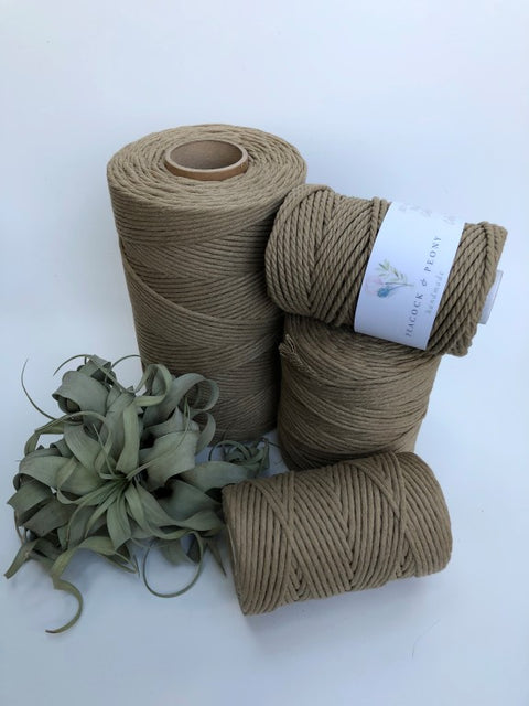 Envelope brown, 5 mm supersoft single twisted cotton stringrope - recycled cotton