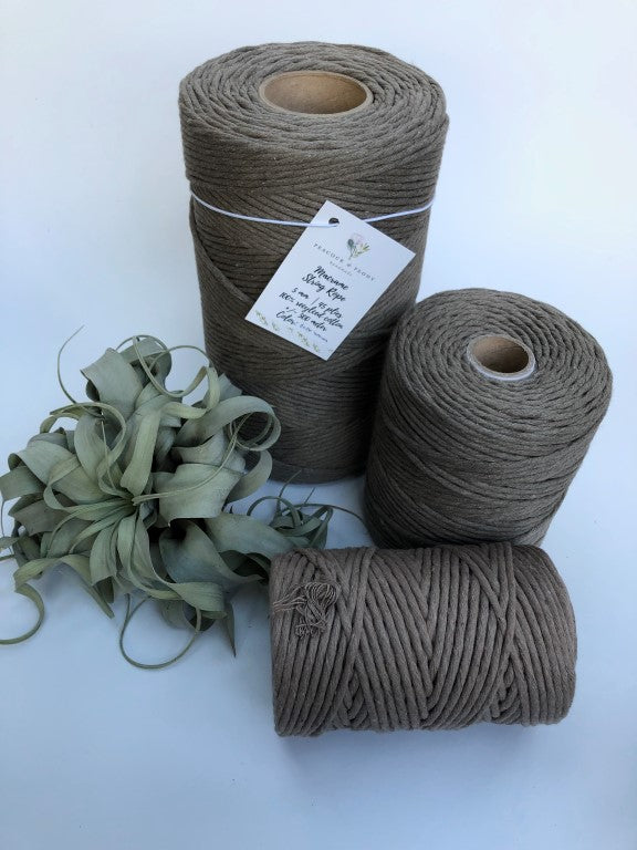 Topo brown, 5 mm supersoft single twisted cotton stringrope - recycled cotton