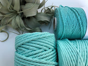Mint Aqua, 2.5mm, 3-ply twisted rope - recycled cotton