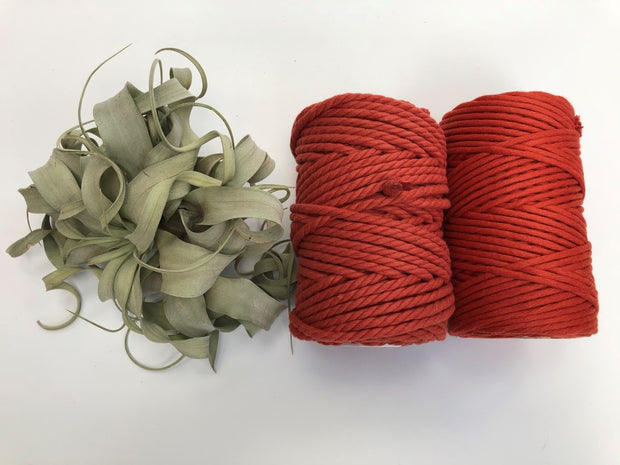 Rust, 6mm, 3-ply twisted rope - recycled cotton