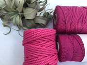 Fuchsia, 6mm, 3-ply twisted rope - recycled cotton