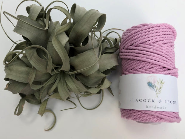 Pink, 4mm, 3-ply twisted rope - recycled cotton