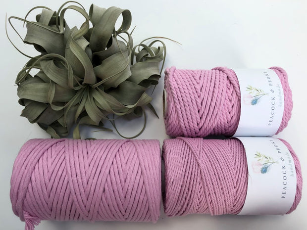 Pink, 2.5mm, 3-ply twisted rope - recycled cotton