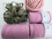 Pink, 8mm, 3-ply twisted rope - recycled cotton