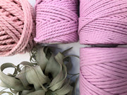 Pink, 5 mm supersoft single twisted cotton stringrope - recycled cotton