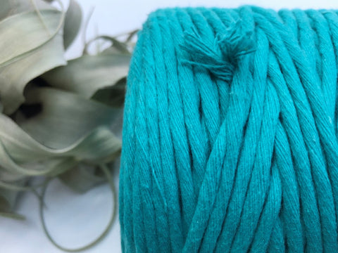 Tropical blue, 5 mm supersoft single twisted cotton stringrope - recycled cotton
