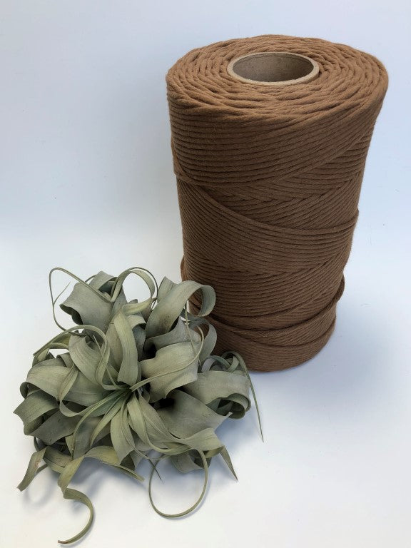 Tawny, 5 mm supersoft single twisted cotton stringrope - recycled cotton