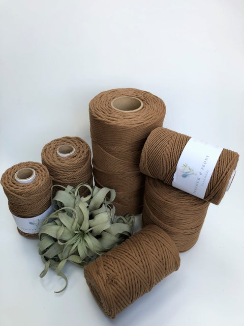 Tawny, 4mm, 3-ply twisted rope - recycled cotton