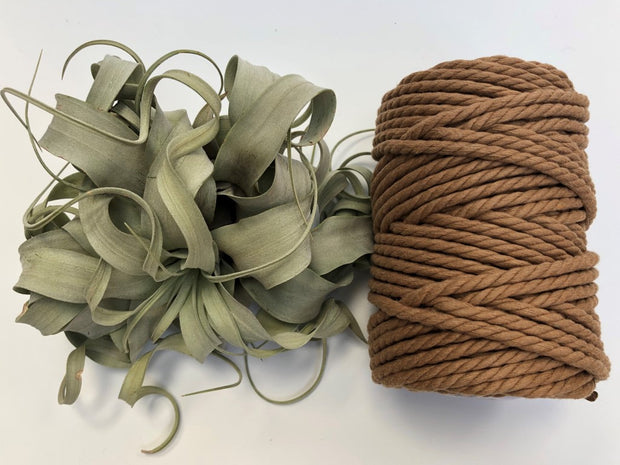 Tawny, 6mm, 3-ply twisted rope - recycled cotton