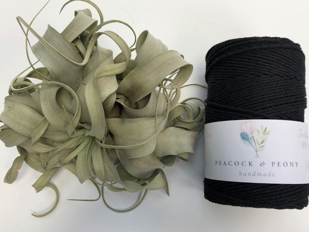 Black, 2.5mm, 3-ply twisted rope - recycled cotton