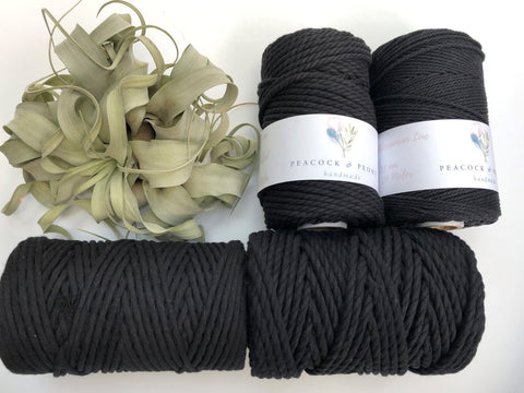 Black, 4mm, 3-ply twisted rope - recycled cotton