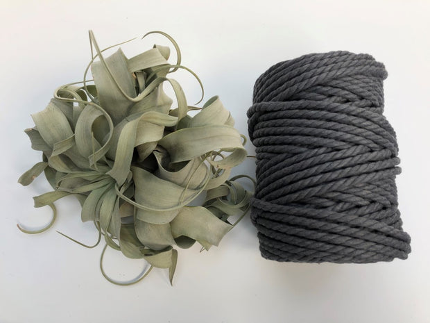 Dark Grey, 6mm, 3-ply twisted rope - recycled cotton
