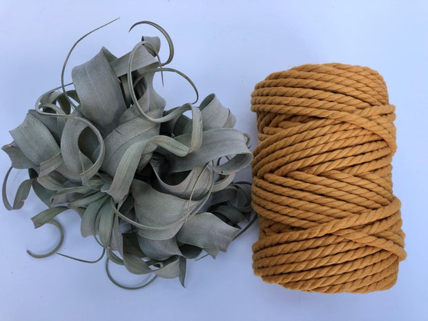 Ochre, 6mm, 3-ply twisted rope - recycled cotton