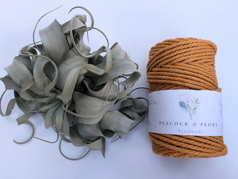 Ochre, 4mm, 3-ply twisted rope - recycled cotton