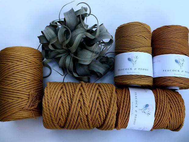 Ochre, 2.5mm, 3-ply twisted rope - recycled cotton