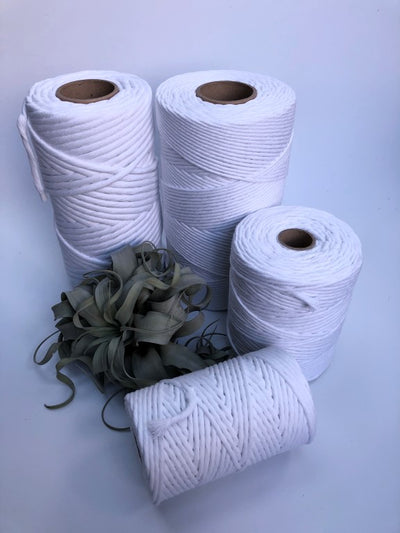 Real white, 5 mm supersoft single twisted cotton stringrope - recycled cotton