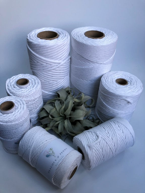 Real white, 4mm, 3-ply twisted rope - recycled cotton