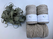 Linen, 2.5mm, 3-ply twisted rope - recycled cotton