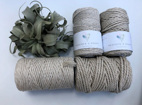 Linen, 4mm, 3-ply twisted rope - recycled cotton