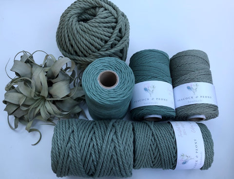Sage Green, 2.5mm, 3-ply twisted rope - recycled cotton