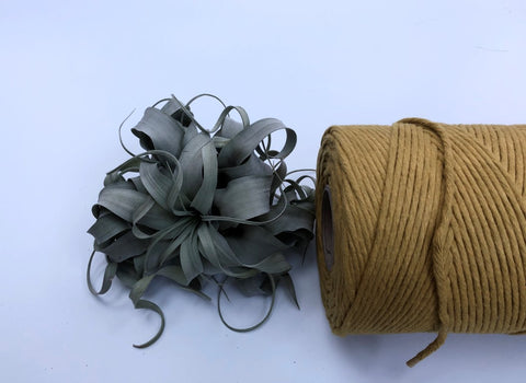 Yellow, 5 mm supersoft single twisted cotton stringrope - recycled cotton