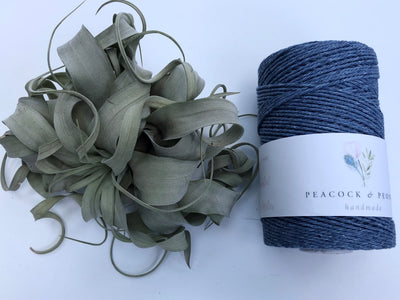 Denim blue, 2.5mm, 3-ply twisted rope - recycled cotton