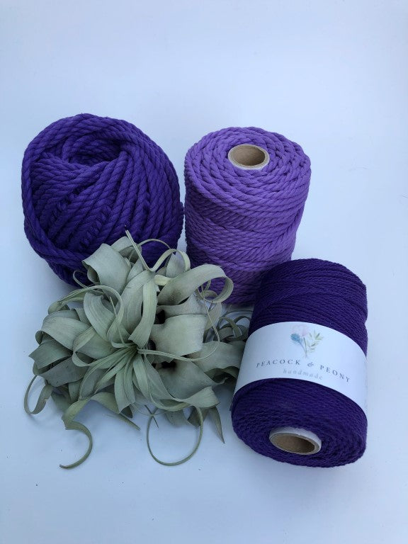 Purple, 8mm, 3-ply twisted rope - recycled cotton