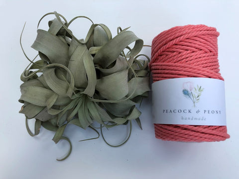 Salmon, 4mm, 3-ply twisted rope - recycled cotton