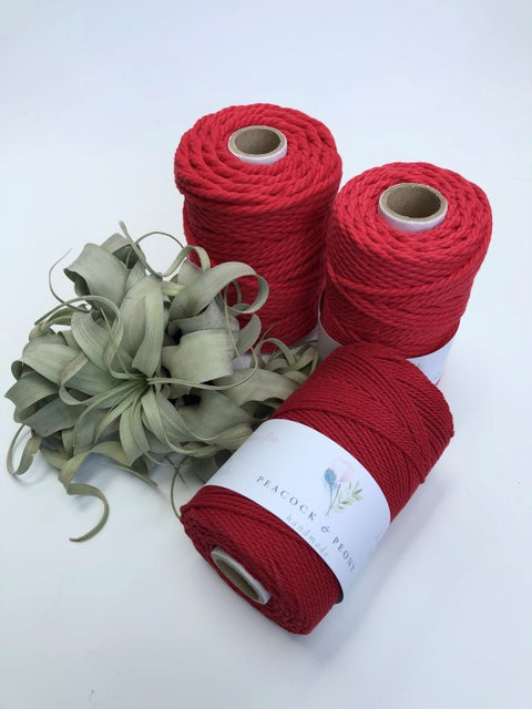 Red, 4mm, 3-ply twisted rope - recycled cotton